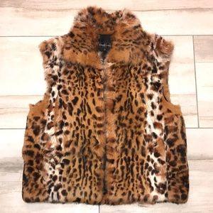 Leopard cheetah print genuine fur vest S NWOT